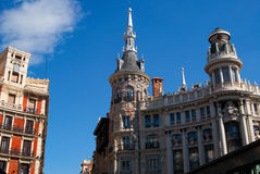 Historic buildings with lace fronts of Madrid Stock Images