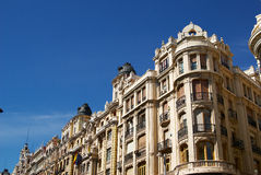 Historic buildings with lace fronts of Madrid Stock Image