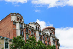 Historic buildings with lace fronts of Madrid Royalty Free Stock Photography