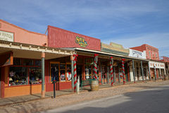 Historic buildings on main street tombstone arizona. December 9, 2015, Tombstone,USA:  historic buildings turned into shops flanking the main street of the Royalty Free Stock Images