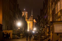 Historic buildings of Mariacka St. Mary street at night. Royalty Free Stock Images