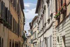 Montepulciano, Siena, Italy: historic buildings Stock Photography