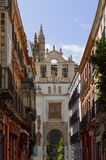 Historic buildings and monuments of Seville, Spain. Spanish architectural styles of Gothic and Mudejar, Baroque. Historic buildings and monuments of Seville royalty free stock images