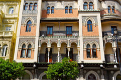 Historic buildings and monuments of Seville, Spain. Spanish architectural styles of Gothic and Mudejar, Baroque Royalty Free Stock Image