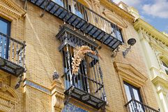Historic buildings and monuments of Seville, Spain. Spanish architectural styles of Gothic and Mudejar, Baroque. Historic buildings and monuments of Seville royalty free stock photo