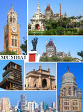 Historic buildings in Mumbai city collage Stock Photo