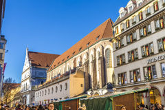 Historic Buildings in Munich's Pedestrian Zone Royalty Free Stock Photos