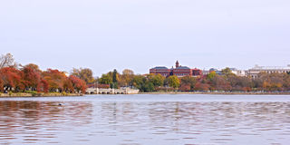 Historic buildings and museums near Tidal Basin in US capital. Royalty Free Stock Photo