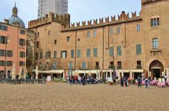 Historic buildings in the old town of Mantua. Northern Italy. Mantua, Italy - April 10, 2018: Piazza Sordello. Historic buildings in the old town of Mantua Royalty Free Stock Photos