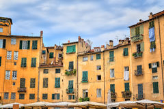 Historic buildings at the Piazza del Anfiteatro in Lucca Royalty Free Stock Image