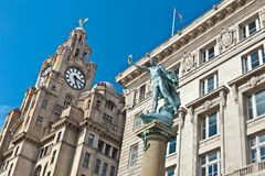 Historic buildings at Pier Head in Liverpool. Stock Photos
