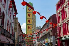 Singapore, typical houses chinese quarter, red lanterns, historic architecture royalty free stock images