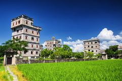 Kaiping Diaolou Village rice paddy. The historic buildings and a rice paddy at Kaiping Diaolou in Zili village in Kaiping China in Guangdong province on a sunny royalty free stock photography