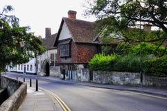 Historic Buildings, Salisbury, Wiltshire, England. Historic Buildings by River Avon in Crane Street, Salisbury, Wiltshire, England stock photo