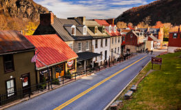 Historic buildings and shops on High Street in Harper's Ferry, W Stock Photo