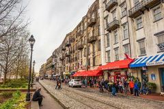 Historic buildings, shops and restaurants in the River Street, S stock image