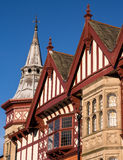 Historic Buildings in Shrewsbury, England. Historic Buildings with gables, bay windows and a spire. Shrewsbury, Shropshire, England royalty free stock image