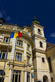 Historic buildings of Sibiu old town center royalty free stock photos