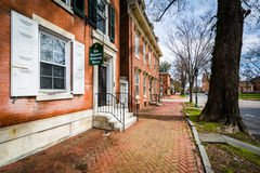 Historic buildings and sidewalk in Dover, Delaware. Royalty Free Stock Photos