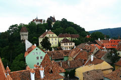 Historic buildings in Sighisoara stock photo