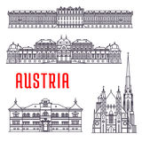 Historic buildings and sightseeings of Austria. Historic architecture buildings of Austria. Vector thin line icons of Schonbrunn Palace, St. Stephen Cathedral Royalty Free Stock Photography
