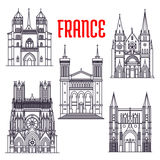 Historic buildings and sightseeings of France Royalty Free Stock Photography