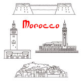 Historic buildings and sightseeings of Morocco Stock Photos