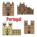 Historic buildings and sightseeings of Portugal Stock Images