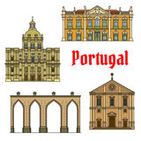 Historic buildings and sightseeings of Portugal Royalty Free Stock Images