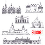 Historic buildings and sightseeings of Sweden. Historic architecture buildings of Sweden. Vector thin line icons of Vadstena Abbey, Malmo Town Hall, Kalmar Stock Images