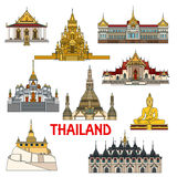 Historic buildings and sightseeings of Thailand Royalty Free Stock Photos