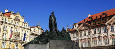 Historic buildings, the statue of the master Jan Hus, Prague, Czech Republic Stock Images