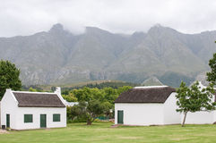Historic buildings in Swellendam in front of Langeberg mountains Royalty Free Stock Photos