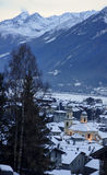 Historic buildings in the town of Bormio Stock Photo