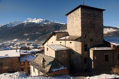 Historic buildings in the town of Bormio Stock Image