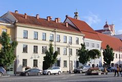 Overview of historic buildings at the Town Hall Square, Vilnius, Lithuania Stock Images