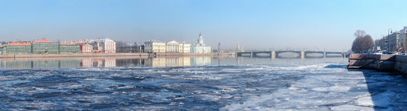 Historic buildings on the University Embankment in Saint-Petersburg Royalty Free Stock Photo