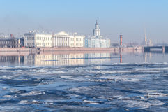 Historic buildings on the University Embankment in Saint-Petersburg Royalty Free Stock Photo