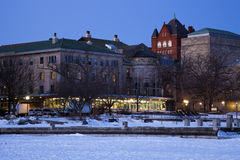 Historic Buildings - University of Wisconsin. Seen from frozen Lake Mendota royalty free stock photo