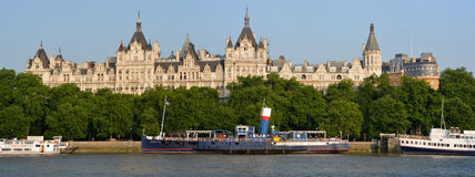 Historic Buildings on Victoria Embankment, London. Stock Images