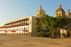 Historic buildings in walled city of Cartagena, Columbia. Royalty Free Stock Photography