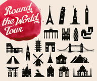 Historic buildings of the world. set of icons, symbols Royalty Free Stock Photography