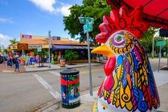 Historic Calle Ocho. Miami, FL USA - December 18, 2016: Colorful artwork on display along the popular Calle Ocho in historic Little Havana stock image