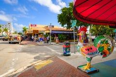 Historic Calle Ocho. Miami, FL USA - December 18, 2016: Colorful artwork on display along the popular Calle Ocho in historic Little Havana stock photo