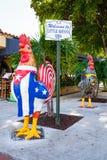Historic Calle Ocho. Miami, FL USA - January 11, 2017: Colorful artwork on display along the popular Calle Ocho in historic Little Havana Royalty Free Stock Image