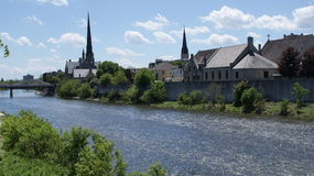 Historic Cambridge, Ontario, churches on the Grand River Royalty Free Stock Photography