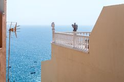 Historic Canarian balcony with sea view royalty free stock image