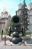 Historic cannon and balls in front of a church at the Kremlin Stock Photos