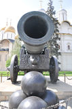 Historic cannon and balls at the Kremlin Royalty Free Stock Image