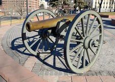 Historic Cannon on display in city, Denver Colorado Royalty Free Stock Photography
